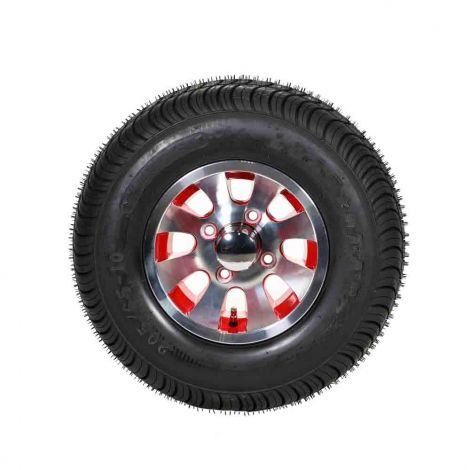 "205/65-10 Loadstar w/ Red 10"" Daytona Wheel Assembly"