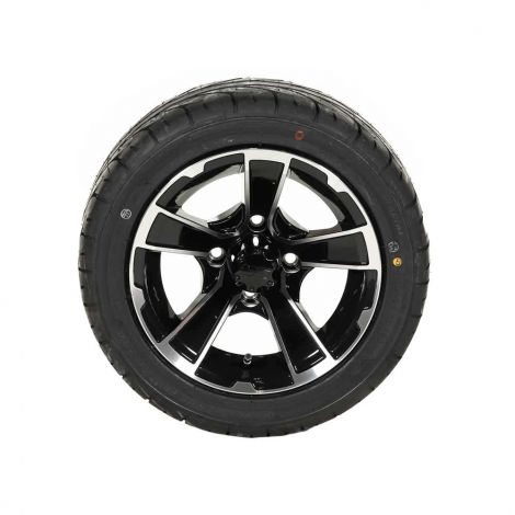 215/40-R12 KZT Tire w/ 12x7 Black/ Machined Rogue Wheel (Driver Side)
