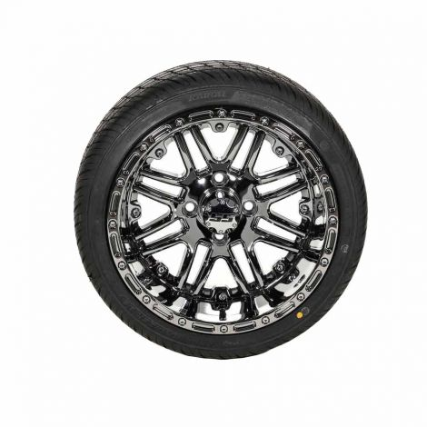 205/35-R14 Paramount SBR Tire w/ 14x8 Black Chrome Megastar Wheel