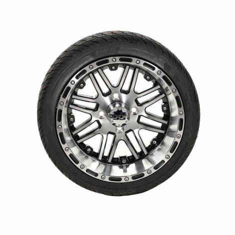 205/35-R14 Paramount SBR Tire w/ 14x8 Black/ Machined Megastar Wheel
