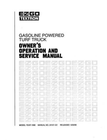 1988 Owners Operator and Service Manual for GXT300/800