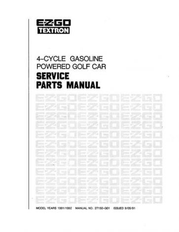 1991-1994 Service Parts Manual for 4-Cycle Gas Cars