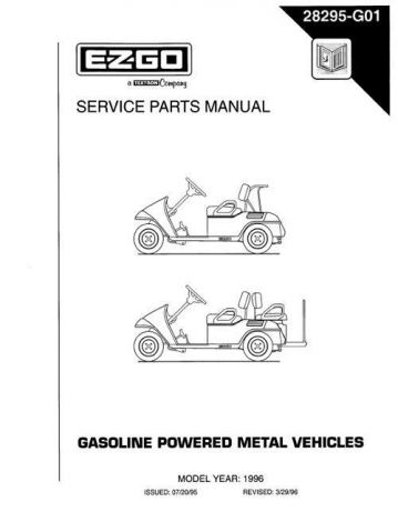 1996 Service Parts Manual for Gasoline Powered Medalist Golf Car