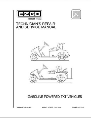 1997-1998 Technician's Service and Repair Manual for Gas TXT  Golf Cars & Personal Vehicles