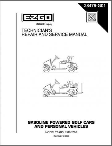 1999-2000 Technician's Repair and Service Manual for Gas TXT  Golf Cars & Personal Vehicles
