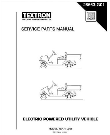 2001 -current Service Parts Manual for E-Z-GO Electric Utility Vehicles