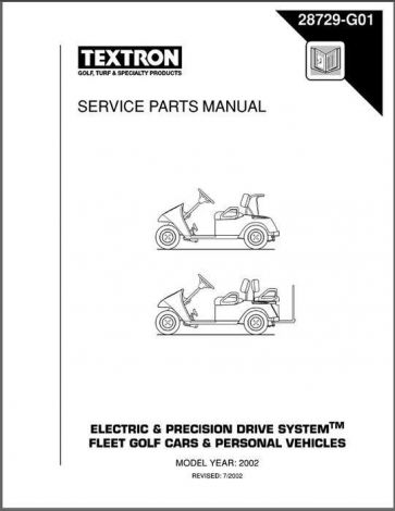 2001-2002 Service Parts Manual for Electric and Precision Drive Golf Cars & Personal Vehicles