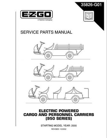 2000 Service Parts Manual for 950 Series Electric Cargo and Personnel Carriers