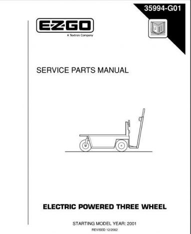 2001+ Service Parts Manual for E-Z-GO Electric Powered 3 Wheel Vehicles