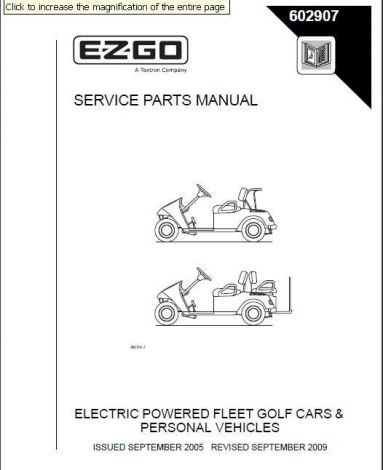 2005-2009 Parts Manual for Electric TXT Fleet/Freedom PDS & Shuttle 2+2 Golf Cars & Personal Vehicle