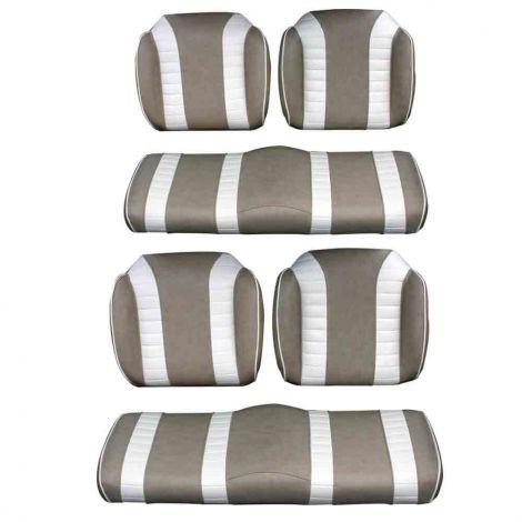 Front and Rear Luxury Seat Package for E-Z-GO RXV & TXT | Stone & Off White
