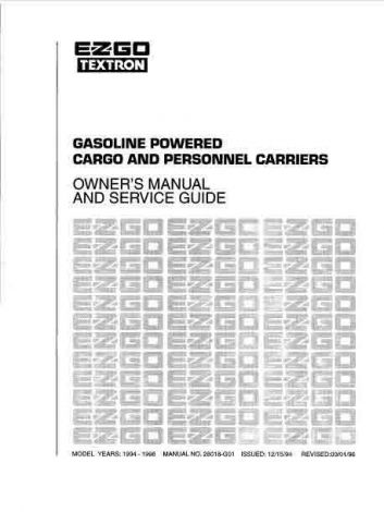 1994-1998 Owners Manual for Gas Carg & Personnel Vehicle