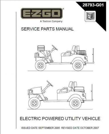 2005+ Service Parts Manual for E-Z-GO Electric Powered Utility Vehicles