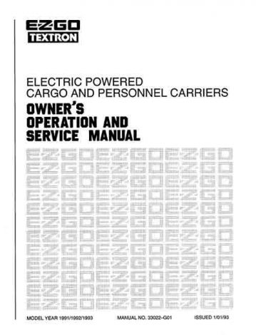 1991-1994 Service Manual for Electric Golf Car