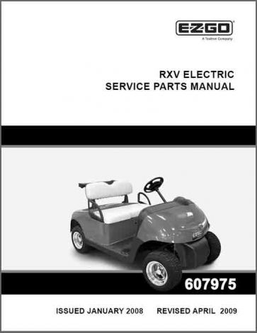 2008-2009 Service Parts Manual for Electric RXV Fleet and Personal Vehicles