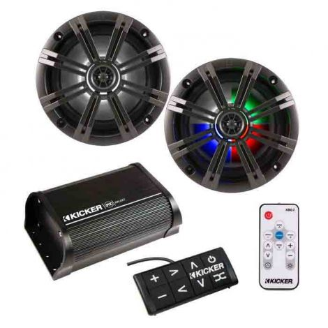 "Kicker Bluetooth Amplifier & 6"" LED Speakers & Remote"
