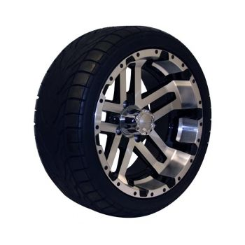 215/35-14 Backlash Tire with Machined and Black Blitz Wheel Assembly (Driver's Side)