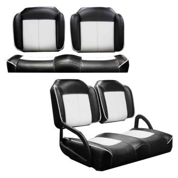 Front and Rear Luxury Seat Package for E-Z-GO RXV & TXT | Black & White