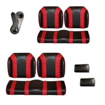 Deluxe Luxury Seat Package for E-Z-GO RXV & TXT | Black & Red