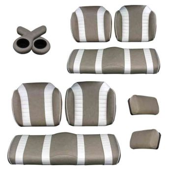 Deluxe Luxury Seat Package for E-Z-GO RXV & TXT | Stone & Off White