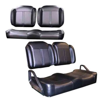 Front and Rear Luxury Seat Package for E-Z-GO RXV & TXT | Carbon Fiber