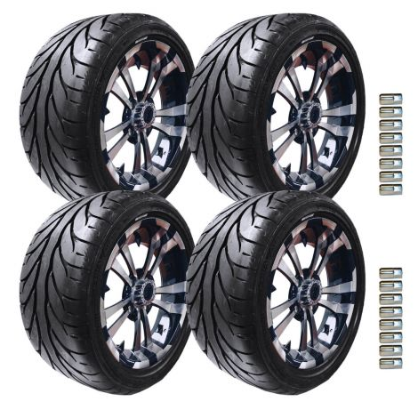 """14"""" Maverick Wheel and KZT Tire Package   Black/Machined"""
