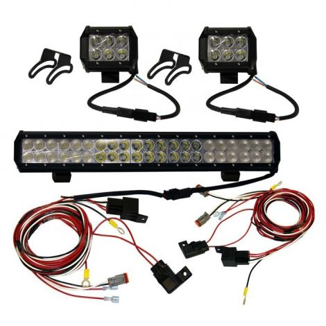 20 inch and 4 inch Dual Row LED Light Bar Combo Set with Harnesses