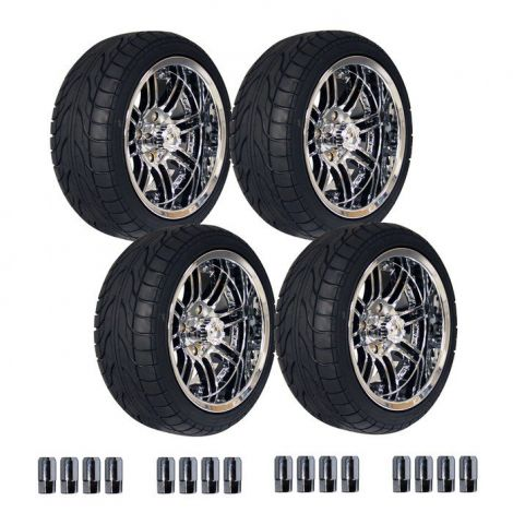"14"" Chrome Laguna Wheel on 215/35 Street Tire Set"