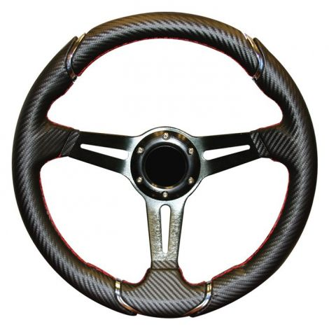 Club Car 13 Inch Steering Wheel in Carbon Fiber-DS with black adapter