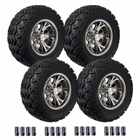 12' Optimus Wheel on 23' Backlash X Off Road Tire Set - Chrome