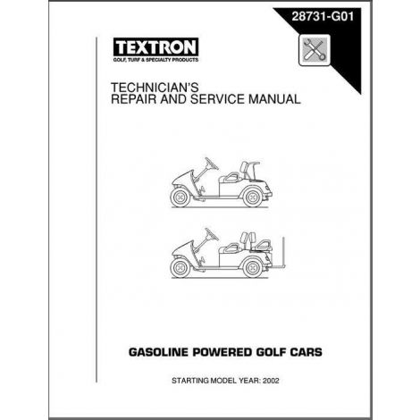2002-2006 Technician's Repair and Service Manual for Gas TXT Golf Cars & Personal Vehicles