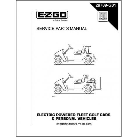 2003-2004 service parts manual for electric golf cars & personal vehicles  shop ez-go