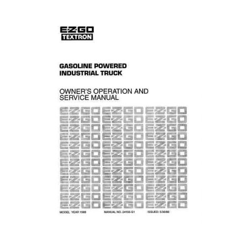 1988 Owner Operator and Service Manual for Gas Industrial Truck