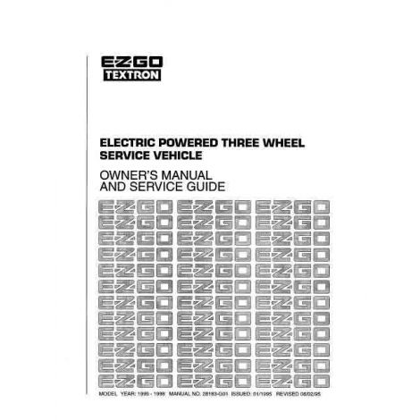 1995-1998 Owners Maintenance and Service Manual for Electric 3 Wheel Vehicle