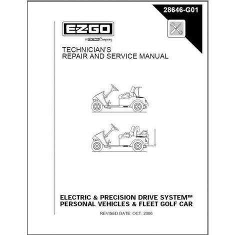 2001-2010 Repair Manual for Electric/PDS TXT Fleet/Freedom/Shuttle 2+2 Golf Cars & Personal Vehicles